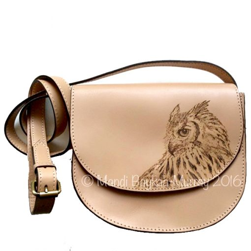 Pyrographed Leather Handbag by Mandi Baykaa-Murray