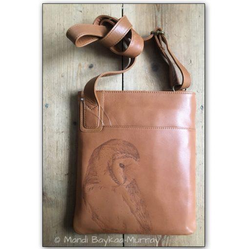 barn owl pyrographed leather bag