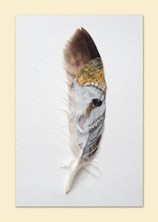 Barn Owl Painted Feather card
