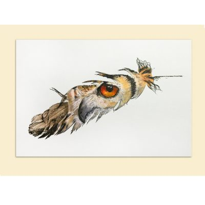 eagle owl painted feather
