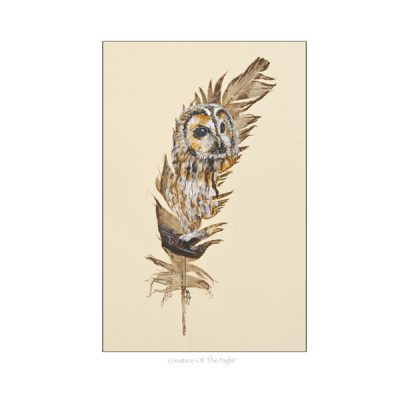 Tawny Owl painted feather