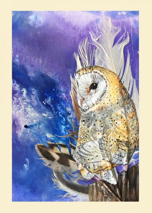 Barn Owl on Purple greetings card