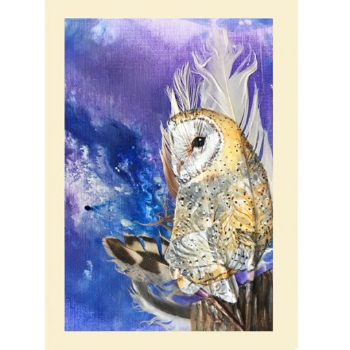 Barn Owl on Purple greetings card