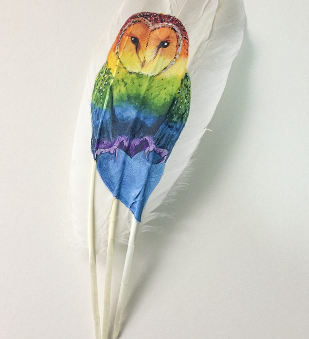 Rainbow Barn Owl by The Feather Lady