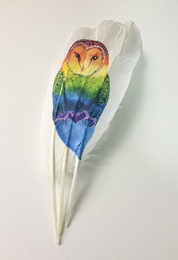 Rainbow Barn Owl Painted Feather Auction in aid of NHS Charities Together