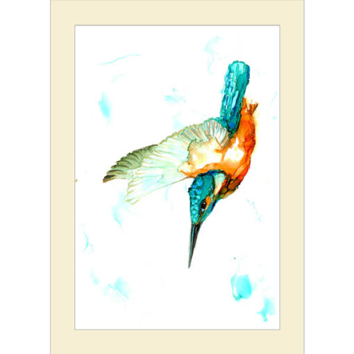 Diving Kingfisher Inky Card