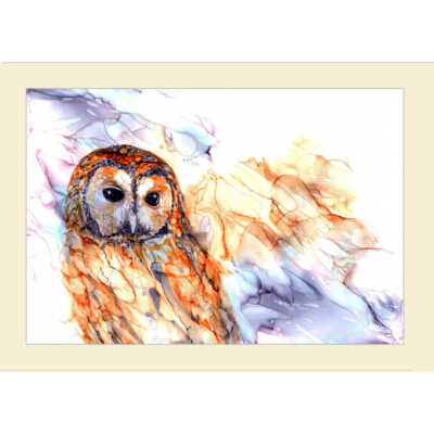 Inky Tawny owl card