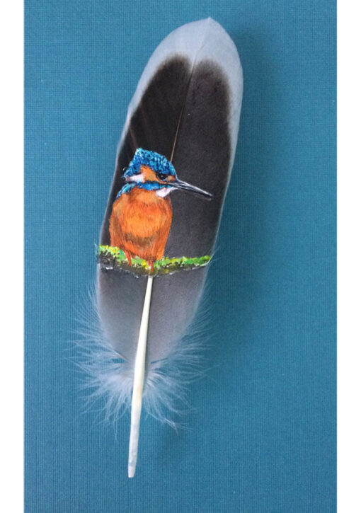 'Gone Fishing' Kingfisher painted on a feather by The Feather Lady