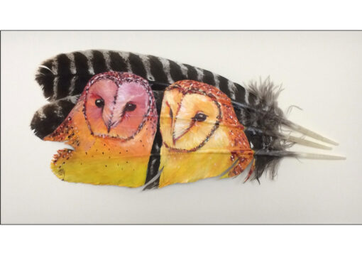 Barn Owl Pair Painted Feather by The Feather Lady 'In The Summer Evening Glow'