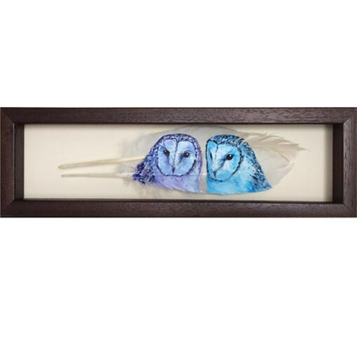 Barn Owls painted on white feathers by The Feather Lady 'Under The Moonlight'